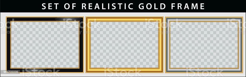 uppsättning av guld ramuppsättning. vektorkonstillustration