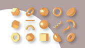 Set of gold geometric shapes. Elements for design. Isolated vector objects. 3D vector illustration