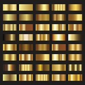Set of Gold gradient background vector texture metallic illustration.