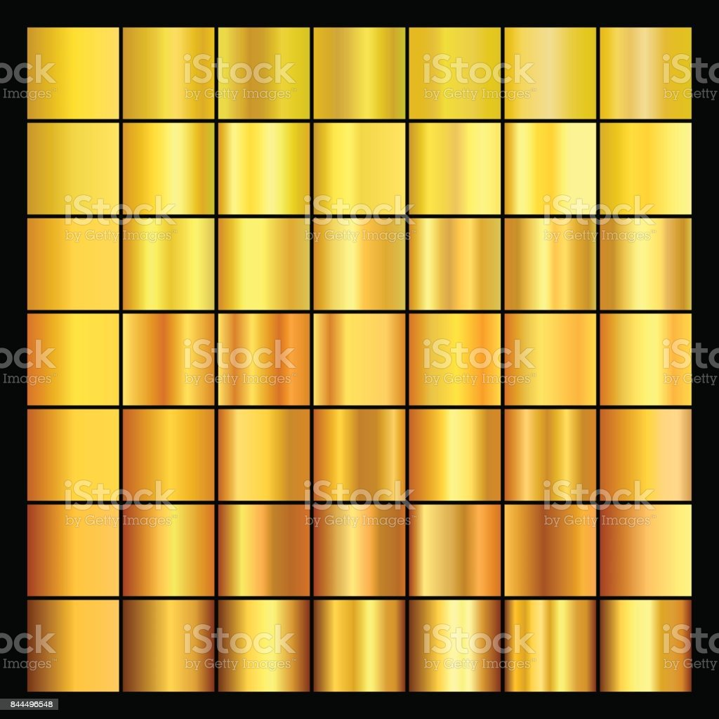 Set of gold gradients. Collection of gold backgrounds.