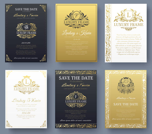 Set of gold luxury flyer pages set with logo ornament illustration concept. Vintage art identity, card, trendy, floral, invitation elements. Vector decorative retro greeting card or invitation design Set of gold luxury flyer pages set with logo ornament illustration concept. Vintage art identity, card, trendy, floral, invitation elements. Vector decorative retro greeting card or invitation design. anniversary patterns stock illustrations