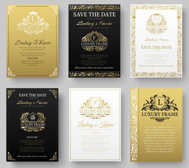 ilustrações, clipart, desenhos animados e ícones de conjunto de luxo dourado de páginas com logotipo ornament conjunto - molduras de certificados e premiações