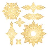 set of gold oriental ornament on white background, pattern, mandala