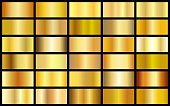 Set of gold realistic metal texture seamless gradient square vector backgrounds. Yellow bright light frame, ribbon, label patterns. Shiny sunny bright templates.