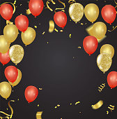 Set of gold, red, yellow, helium ball isolated in the air. Celebration background template with balloons