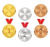 Set of gold, silver and bronze award medals with red ribbons. Medal round empty polished vector collection isolated on white background. Premium badges. Winner awards. Coins buttons icons.