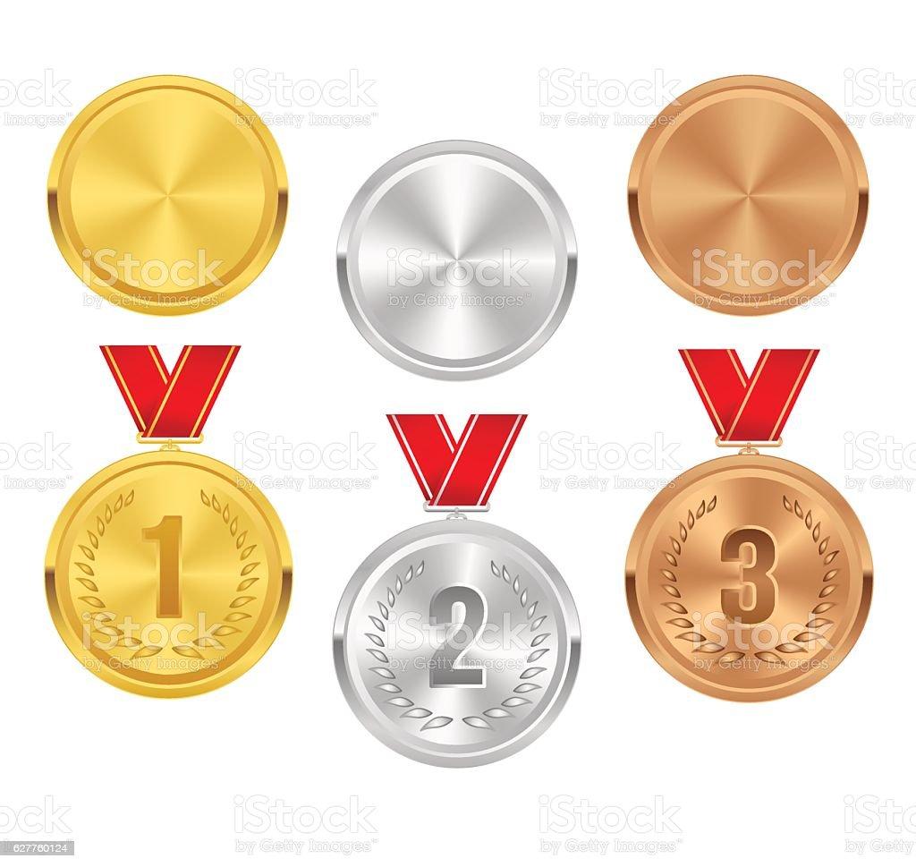Set of gold, silver and bronze award medals. Vector awards. - ilustração de arte em vetor