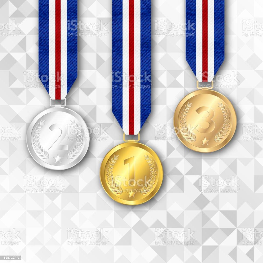 Set of gold, silver and bronze award medals. vector art illustration