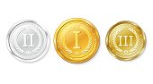 Set of gold, silver and bronze medals. Awards for first, second and third place. Vector illustration on white background.
