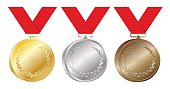 Set of gold, silver and bronze medals vector Illustration isolated on white background