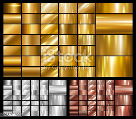 Set of gold silver copper metal or metallic background vector illustration