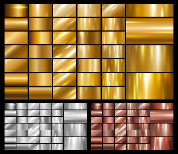 illustrations, cliparts, dessins animés et icônes de ensemble d'illustration vectorielle or argent fond cuivre métallique ou métalliques - alliage