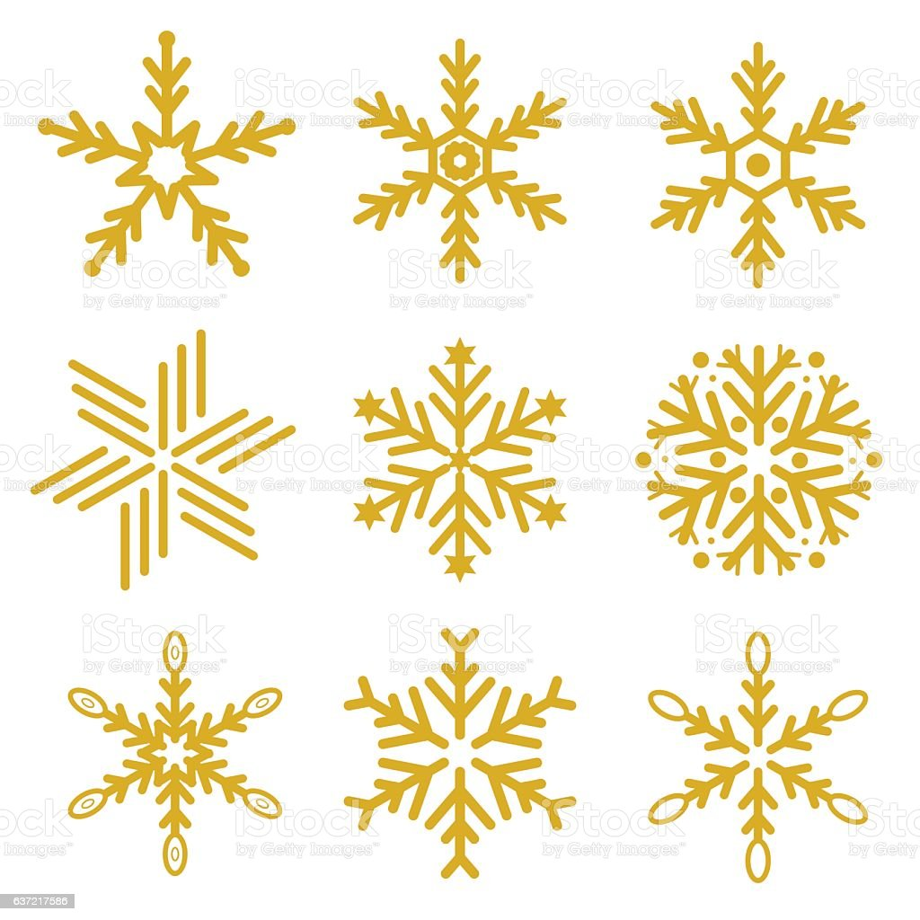 set of gold snowflakes vector royalty free set of gold snowflakes vector stock vector