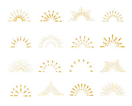 Set of gold sunburst frames, vintage style, halves, isolated on white background. Vector illustration.