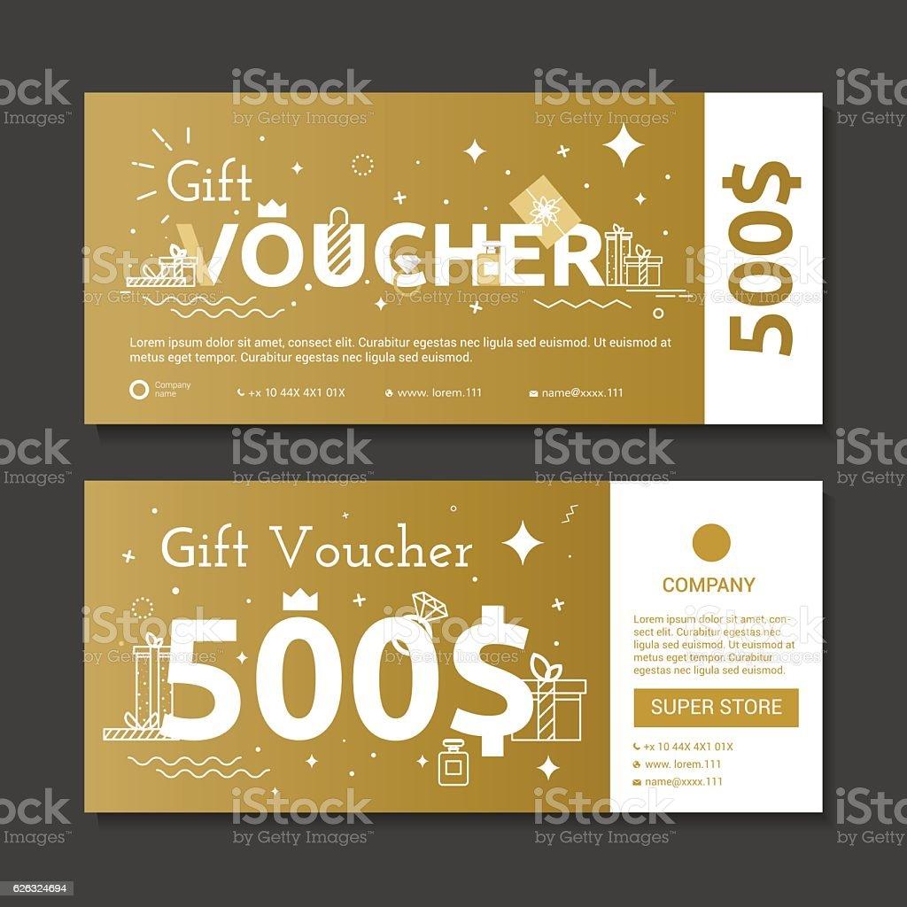 Set of gold voucher. vector art illustration