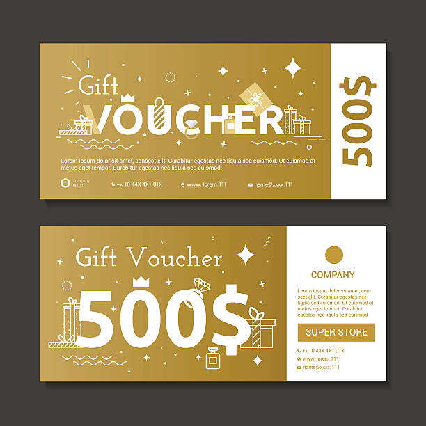 set of gold voucher. - coupon stock illustrations, clip art, cartoons, & icons