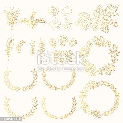 Set of golden award laurel wreath with barley, malt, rye, wheat ears, hop cone and leaves for label design. Winner beer frames. Vector isolated illustration.