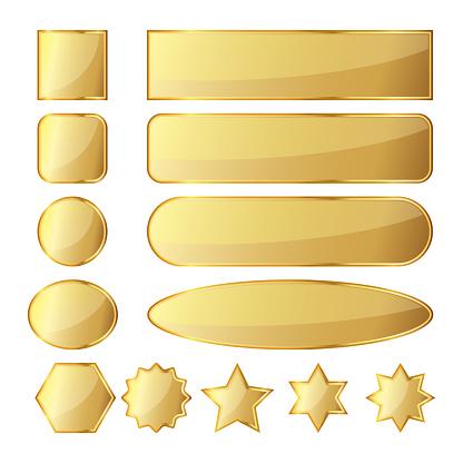 Set of golden buttons. Vector illustration