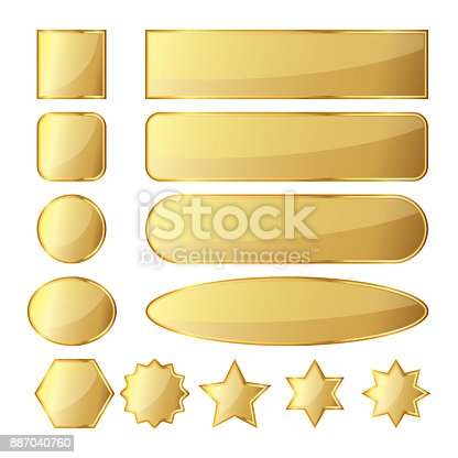 Set of 13 glossy golden buttons or banners in different shapes. Vector illustration. Gold banners isolated on white background.