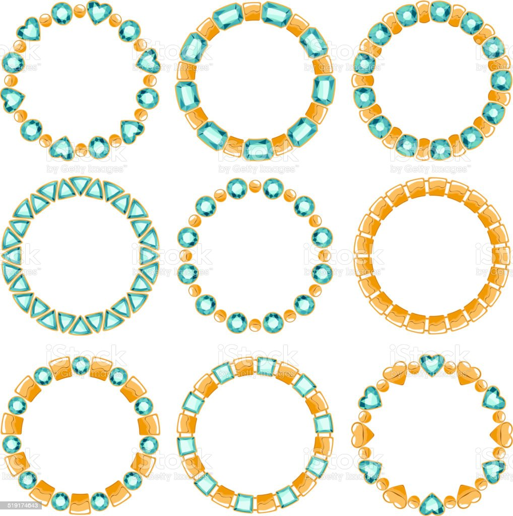 Set of golden chain frames with emeralds. Elements for design vector art illustration