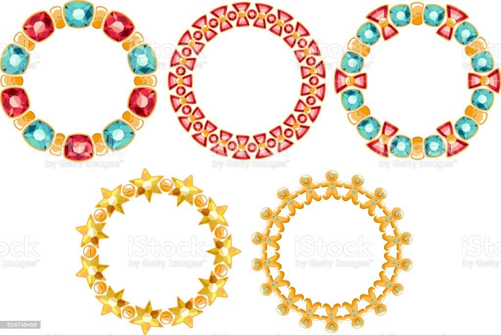 Set of golden chain frames with gemstones. vector art illustration