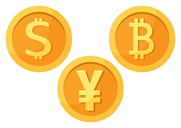 Set of golden coin money icons. Dollar, bitcoin, yuan. Vector illustration Set of golden coin money icons. Dollar, bitcoin, yuan. Vector illustration yuan symbol stock illustrations