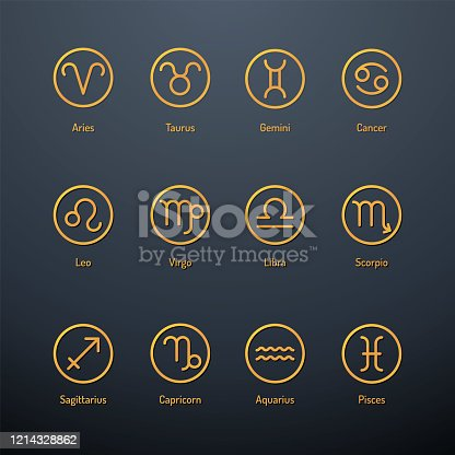 Golden coloured icons of astrology signs isolated on dark background