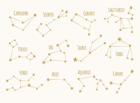 Set of golden constellations. Vector zodiac signs.