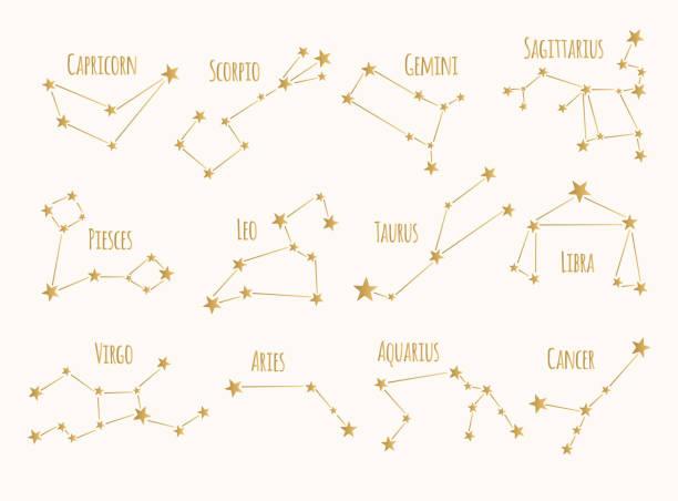 ilustrações de stock, clip art, desenhos animados e ícones de set of golden constellations. vector zodiac signs. - astrologia