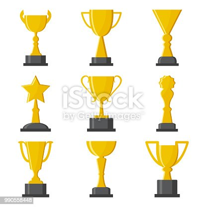 Set of golden cups award. Vector illustration