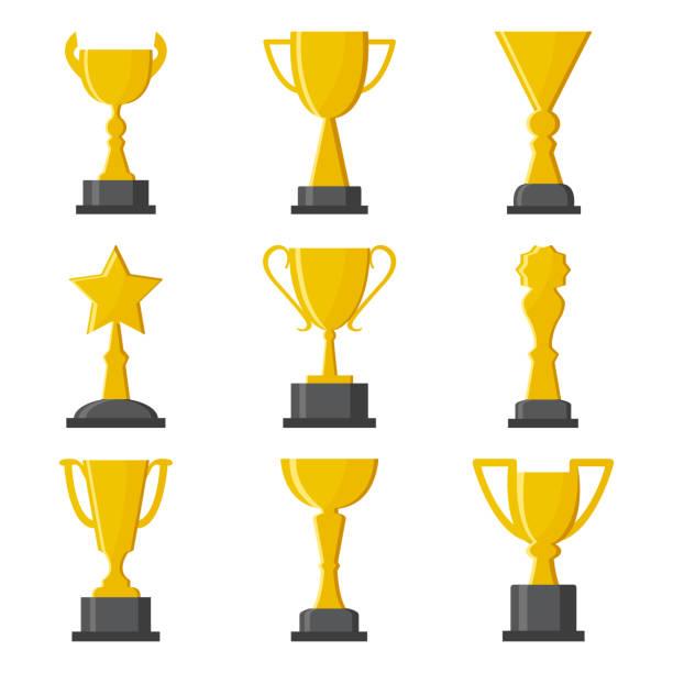 stockillustraties, clipart, cartoons en iconen met set van gouden bekers award. vectorillustratie - kampioenschap