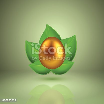 Set of golden egg in green leaves. EPS10 vector.