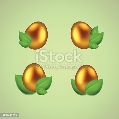 Set of golden eggs in green leaves. EPS10 vector.