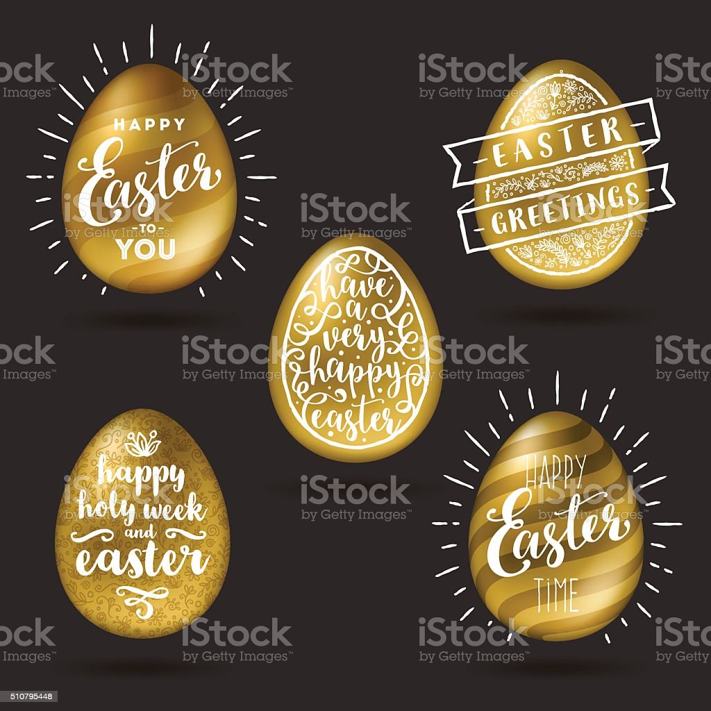Set of golden eggs with Easter greeting type design vector art illustration