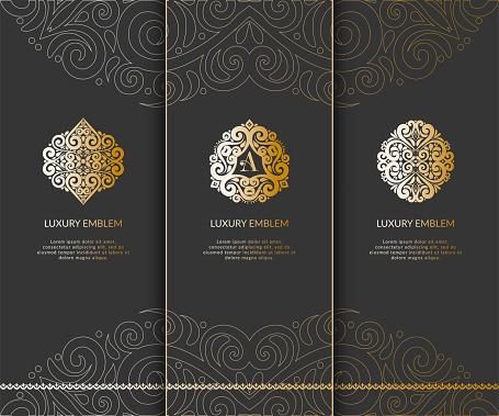Set of golden emblem. Great for , monogram, invitation, flyer, menu, brochure.