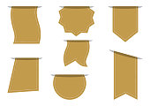 Set of golden empty banners for your text. Advertising badges. Vector illustration