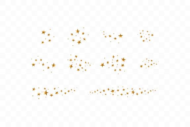Set of golden falling stars. Cloud of golden stars isolated on transparent background. Vector illustration. Meteoroid, comet, asteroid, stars Set of golden falling stars. Cloud of golden stars isolated on transparent background. Vector illustration. Meteoroid, comet, asteroid, stars. star stock illustrations