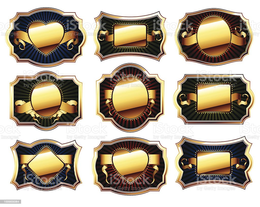 set of golden frame royalty-free stock vector art