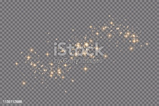 Set of golden glowing lights effects isolated on transparent background. Sun flash with rays and spotlight. Glow light effect. Star burst with sparkles