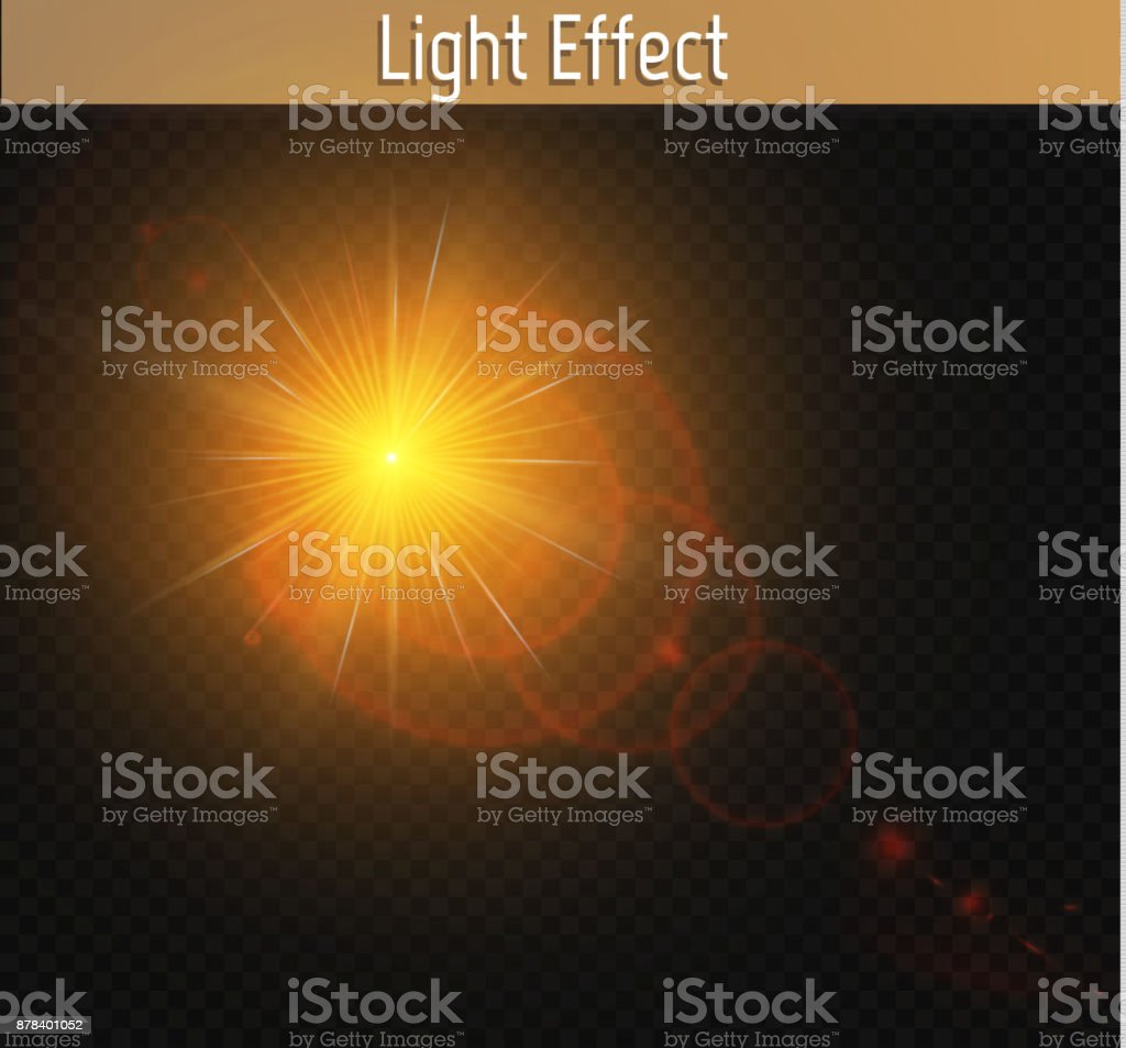 Set Of Golden Glowing Lights Effects Isolated On Transparent ... for Sun Light Effect Background  lp0lpmzq