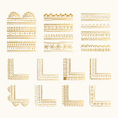 Set of golden hand drawn stylized borders and corners. Vintage oriental style. Vector isolated dividers.