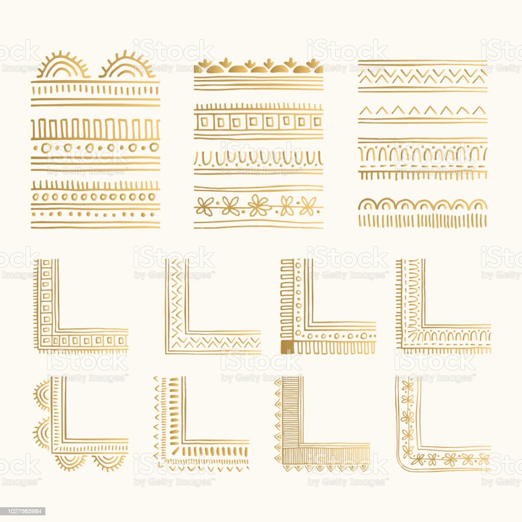 Set of golden hand drawn stylized borders and corners. Vintage oriental style. Vector isolated dividers. vector art illustration