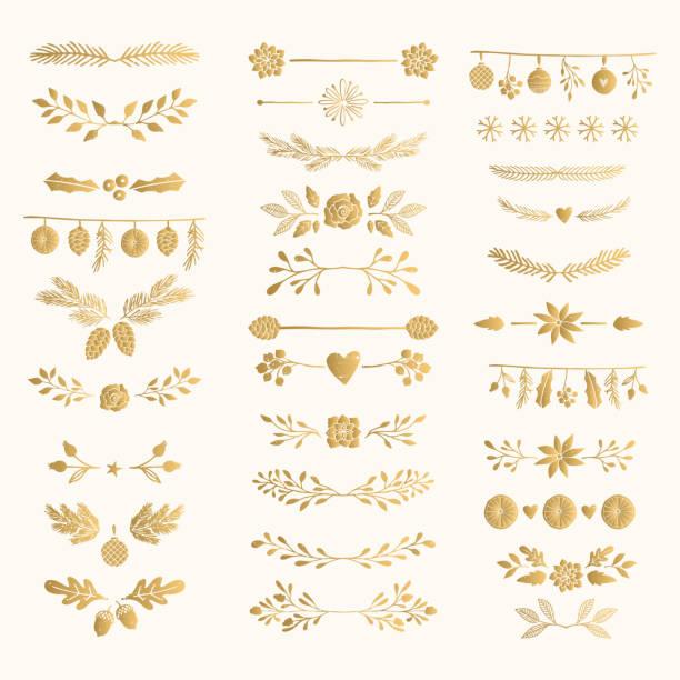 stockillustraties, clipart, cartoons en iconen met set van gouden hand getrokken winter tekst decoratie. goud folie scheidingslijnen en scheidingstekens. - decor