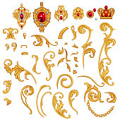Set of golden jewelry scroll elements with ruby gem stones, crown,chain for decor frame in Rococo style