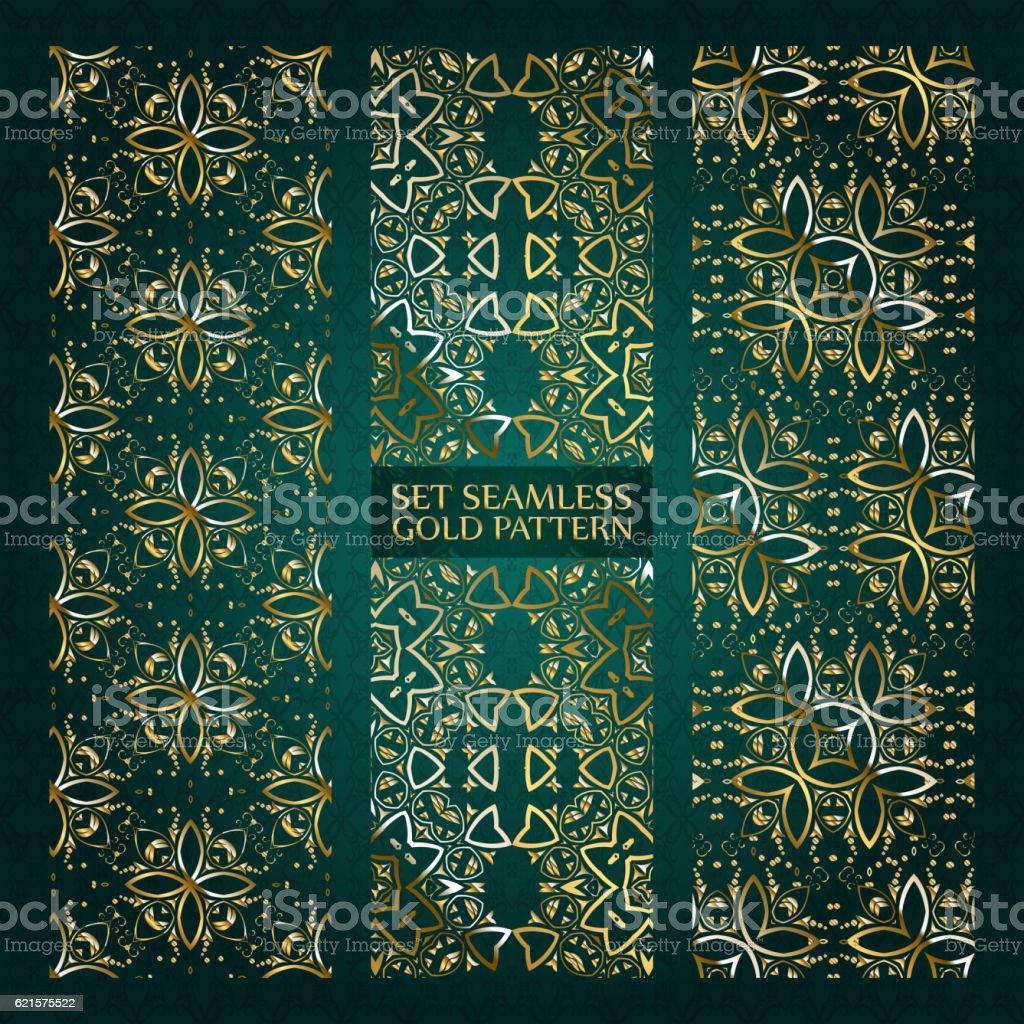 Set of golden lace pattern green set of golden lace pattern green – cliparts vectoriels et plus d'images de abstrait libre de droits