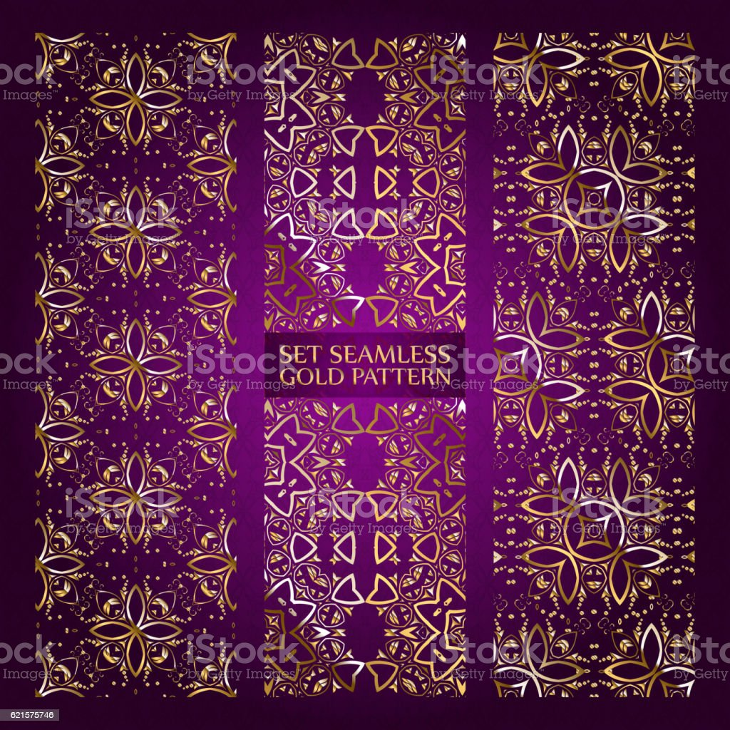 Set of golden lace pattern purple set of golden lace pattern purple – cliparts vectoriels et plus d'images de abstrait libre de droits