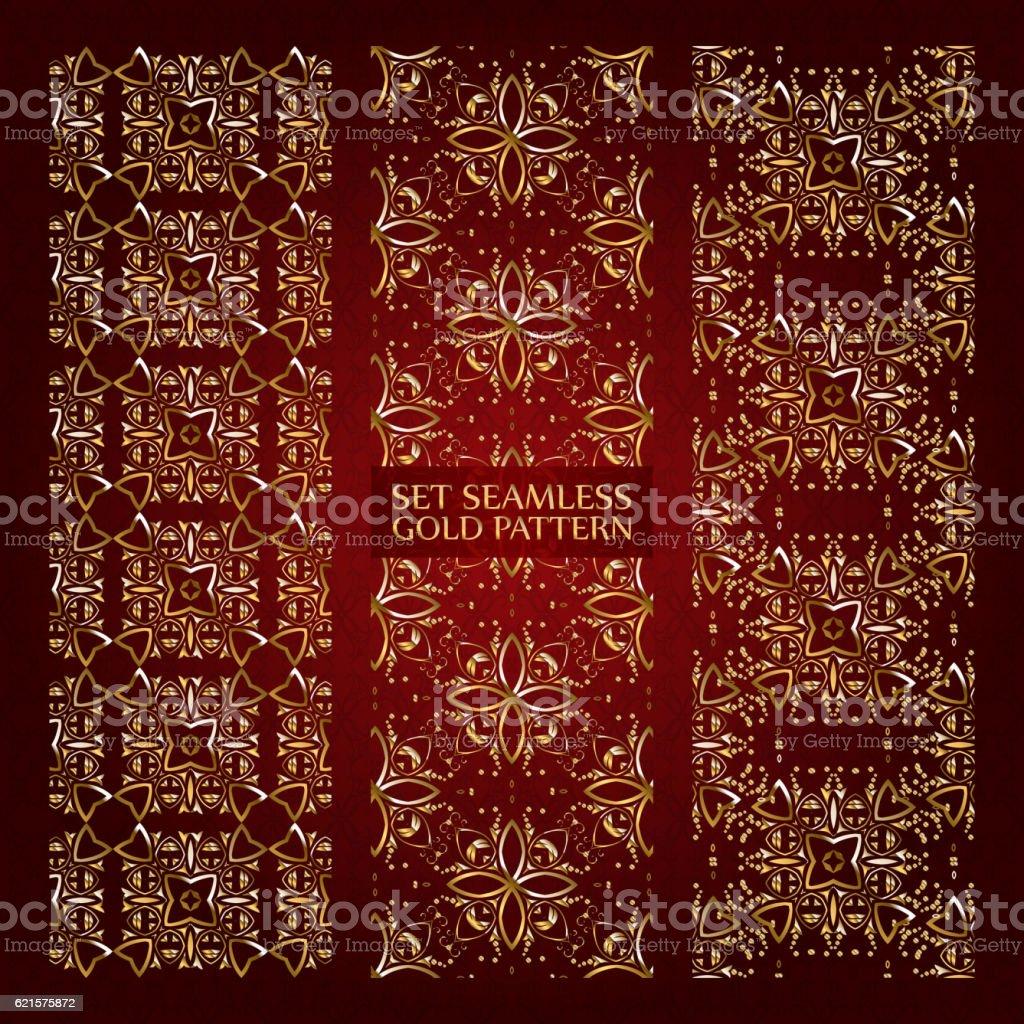 Set of golden lace pattern red set of golden lace pattern red – cliparts vectoriels et plus d'images de abstrait libre de droits