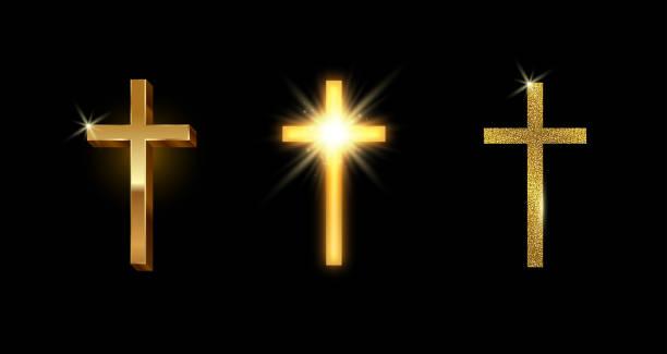 황금 라틴어 십자가의 집합입니다. 빛나는 반짝이 골드 가톨릭 십자가. 벡터 일러스트입니다. - 십자가 stock illustrations