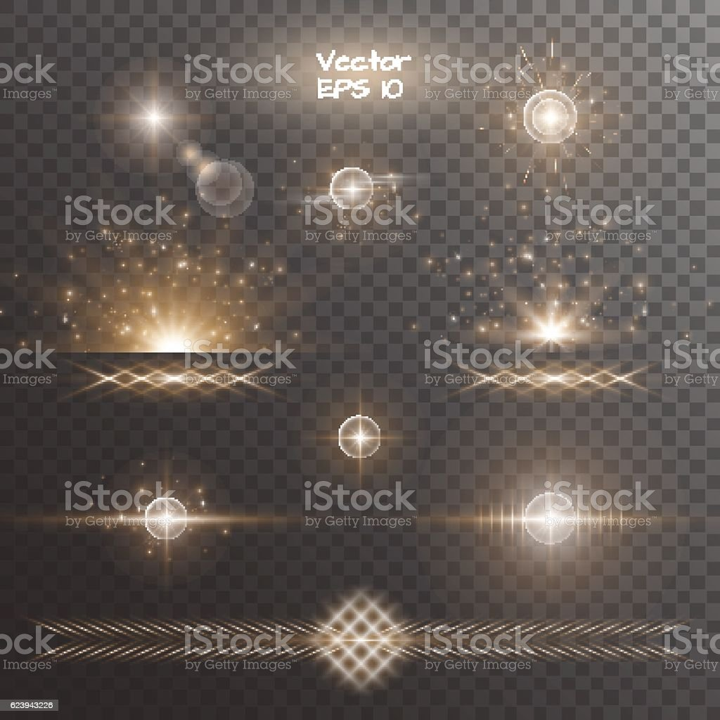 Set of golden light effects vector art illustration