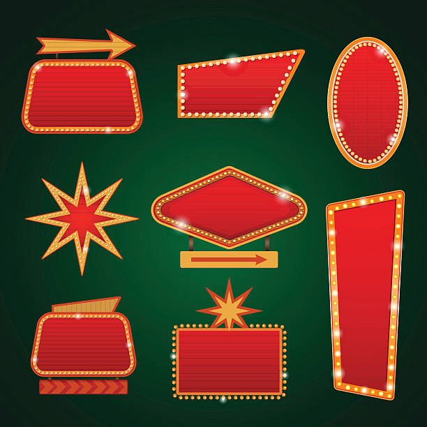 Set of golden lights casino banners copy space Set of golden lights casino banner signs copy space cartable stock illustrations